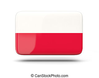 Square icon with flag of poland