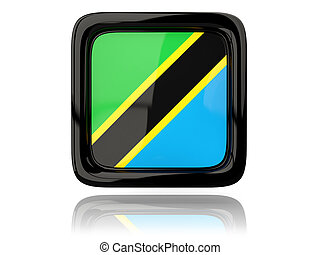 Square icon with flag of tanzania
