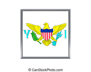 Square icon with flag of usa virgin islands