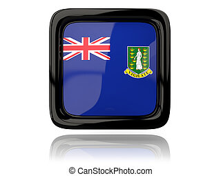 Square icon with flag of virgin islands british. 3D illustration