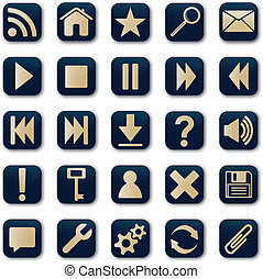 Square icons button set