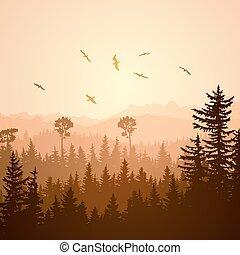 Square illustration of foggy sunset forest hills.