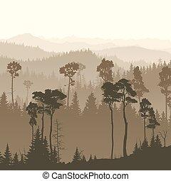Square illustration of misty forest hills.