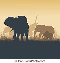 Square illustration of wild animals in sunset savanna.