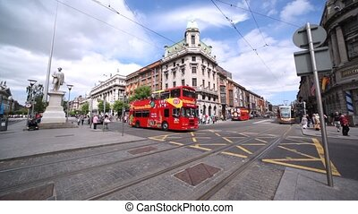 Square in front of marble statue of John Gray situated on O'Connell Street