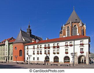 square in Krakow - Maly Rinek square in the centre of town...
