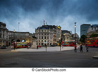 Square in London at dusk, England