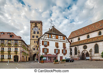 Square in Ribeauville, Alsace, France
