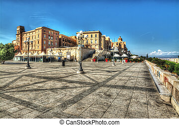 square in Saint Remy Bastion, Cagliari. Processed for hdr...