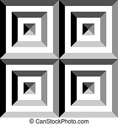 Square in square pyramid group impression inspired structure abstract cut art deco illustration