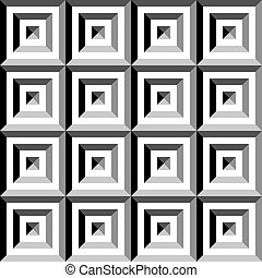 Square in square pyramid group impression seamless inspired structure abstract cut art deco illustration