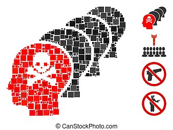 Mosaic Kill all humans icon united from square items in random sizes and color hues. Vector square items are united into abstract mosaic kill all humans icon. Bonus pictograms are placed.