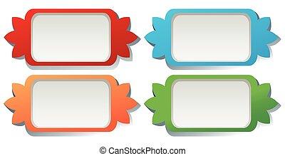 Square label design in four colors