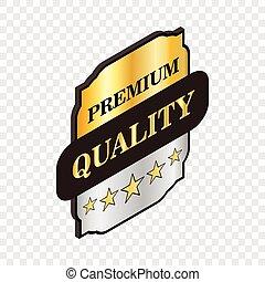 Square label premium quality isometric icon