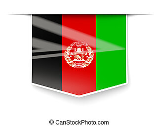 Square label with flag of afghanistan
