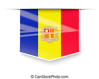 Square label with flag of andorra