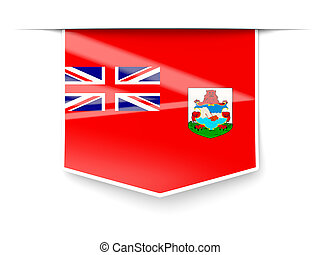 Square label with flag of bermuda
