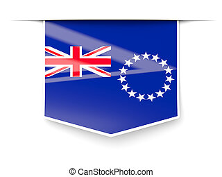 Square label with flag of cook islands isolated on white