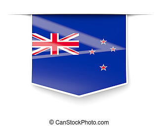 Square label with flag of new zealand