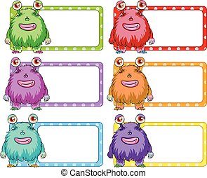 Square labels with colorful monster