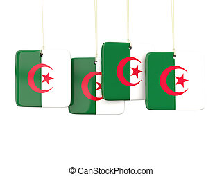 Square labels with flag of algeria