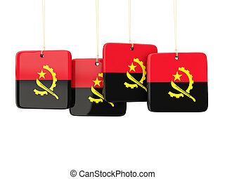 Square labels with flag of angola