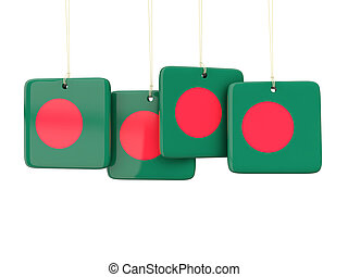 Square labels with flag of bangladesh