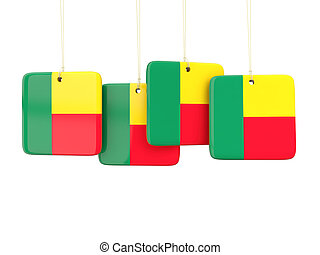 Square labels with flag of benin