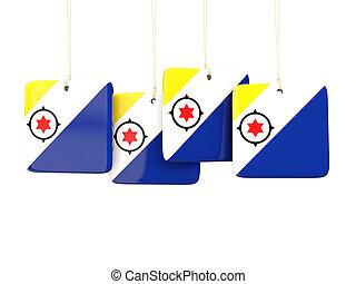 Square labels with flag of bonaire. 3D illustration