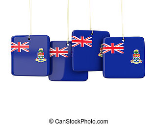 Square labels with flag of cayman islands