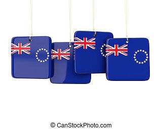 Square labels with flag of cook islands. 3D illustration