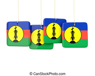 Square labels with flag of new caledonia