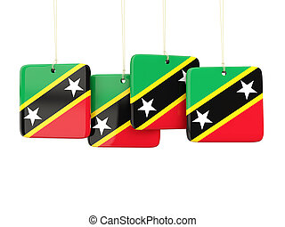 Square labels with flag of saint kitts and nevis