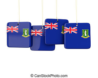Square labels with flag of virgin islands british