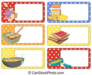 Square labels with food