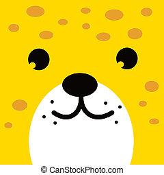 square leopard face icon button
