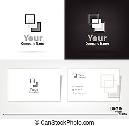 square logo vector design with business card template.
