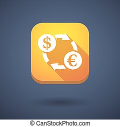 Square long shadow app button with a dollar euro exchange sign