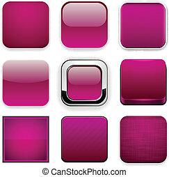 Square magenta app icons.
