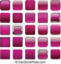 Square magenta app icons. - .Set of blank magenta square...