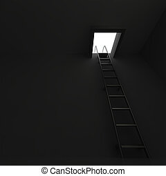 Square manhole with an aluminum ladder in darkness