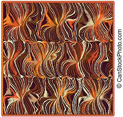 Square mat, rug, carpet, plaid, napkin, serviette with grunge wavy oriental pattern in orange, beige, brown colors isolated on white
