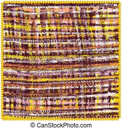 Square mat with horizontal and vertical grunge zigzag stripes in brown, yellow, white, orange, pink colors isolated on whte