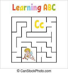 Square maze. Game for kids. Quadrate labyrinth. Education worksheet. Activity page. Learning English alphabet. Cartoon style. Find the right way. Color vector illustration.