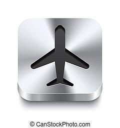 square-metal-button-perspektive-airplane