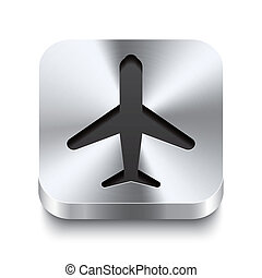 Square-metal-button-perspektive-airplane - Realistic 3d...