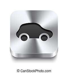 Square metal button perspektive - car icon