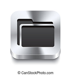 Square metal button perspektive - folder icon
