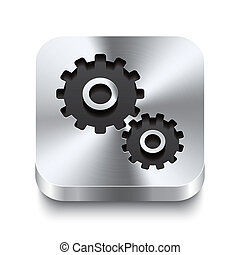 Realistic 3d vector illustration of a square metal button with a gear icon. This brushed steel button is the perfect switch for navigation in any user interface.