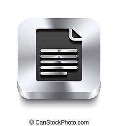 Square metal button perspektive - page curl icon